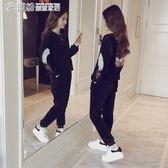 運動套裝 時尚金絲絨套裝女秋冬新款韓版刺繡加絨運動休閒衛衣兩件套潮 繽紛創意家居