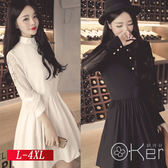 中大尺碼 顯瘦蕾絲袖拼接單排扣連衣裙 L-4XL O-Ker 歐珂兒 LLB0505-C