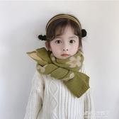兒童保暖圍巾-秋冬款兒童針織圍巾泫雅風小花女童寶寶洋氣圍脖時尚百搭保暖  喵喵物語