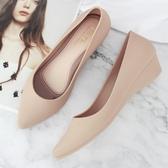尖頭雨鞋女士低筒水鞋雨靴防滑短筒時尚坡跟淺口膠鞋韓國可愛 歐韓流行館