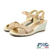 【IMAC】時尚交叉楔型低跟涼鞋  粉膚色(72650-BE)