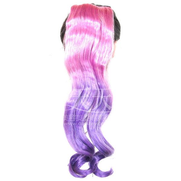【接髮.頭髮增長.舞台效果】嘉奈兒 YL-P005 雙色拉繩馬尾 (2_雙紫) [41055]