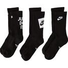 Nike 男女兒童3包組小腿中段運動襪(黑色)