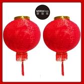 【摩達客】農曆春節元宵 12吋植絨魚福紅燈籠 一組兩入