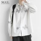秋冬港風日系打底襯衫男長袖韓版潮流寬鬆白色襯衣設計感小眾上衣 果果輕時尚