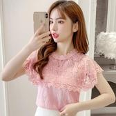 無袖上衣 2020新款夏季韓版時尚氣質短袖上衣雪紡超仙洋氣小衫t恤蕾絲衫 JX3277『東京衣社』