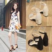 2018夏季新款百搭韓版學生女鞋黑色羅馬中跟高跟粗跟一字扣帶涼鞋 桃園百貨