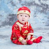 古裝 春秋寶寶兒童嬰兒男女唐裝周歲生日百天黃馬褂禮服演出服內里純棉【全館九折】