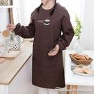 長袖圍裙男女加大圍裙護衣成人雙層罩衣廚房家用冬季工作服反穿衣【快速出貨】