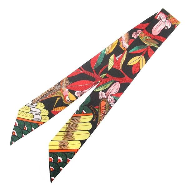 HERMES 愛馬仕 樹之歌系列黑底彩色花鳥圖案絲巾 Tree of Song  Twilly Scarf