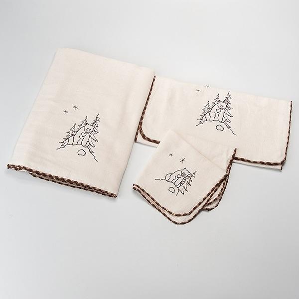 【南紡購物中心】[森之棉]  台灣黑熊-原棉兩用紗羅毛巾(2入)