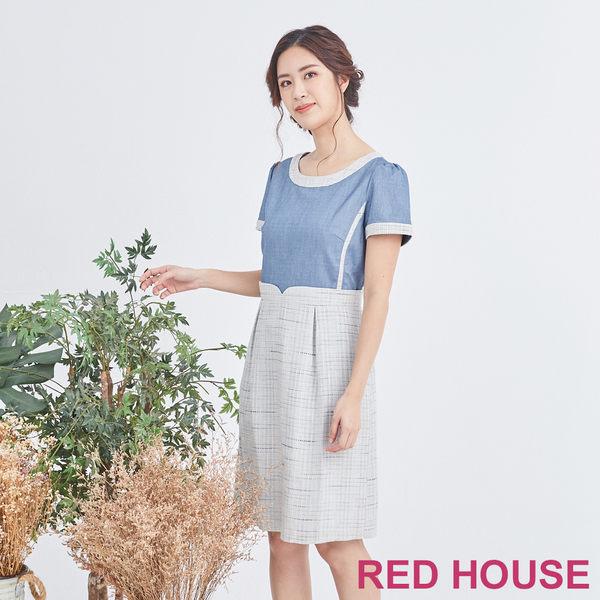 Red House 蕾赫斯-色彩編織拼接牛仔洋裝(共2色)