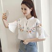 2017夏新款短袖木耳領刺繡襯衫女白色立領喇叭袖韓版寬鬆套頭上衣 AD227『黑色妹妹』