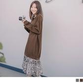 《DA7384-》暖感磨毛針織拼接豹紋裙襬假兩件長洋裝 OB嚴選
