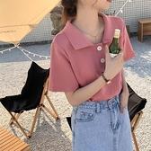 韓版復古港味學生洋氣減齡純色百搭短袖翻領polo針織衫T恤上衣女 韓美e站