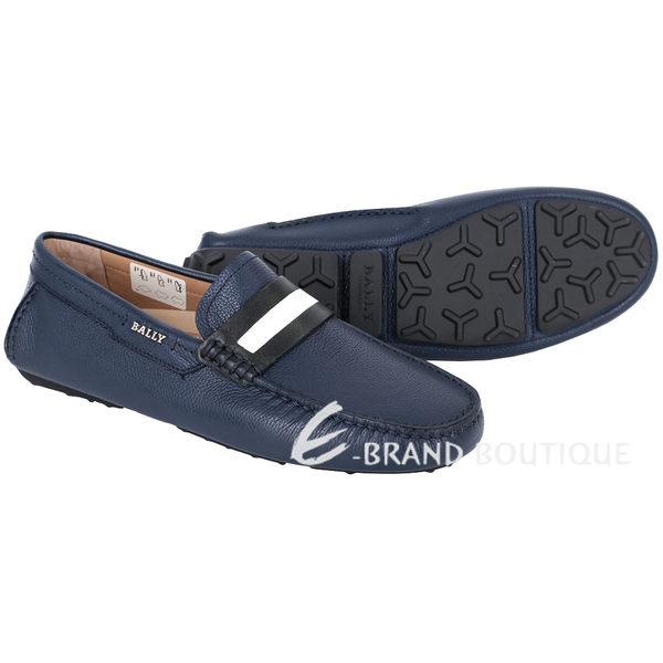 BALLY DRACON 黑白條紋飾牛皮樂福鞋(深藍色) 1530073-23