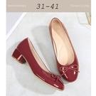 大尺碼女鞋小尺碼女鞋圓頭漆皮芭蕾舞鞋經典粗跟鞋低跟中跟鞋平底鞋包鞋工作鞋酒紅色(31-41)現貨