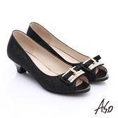 A.S.O 甜蜜樂章 華麗方型飾釦魚口跟鞋 黑