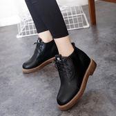 短靴 新款厚底粗跟短靴女英倫風復古系帶馬丁靴女靴