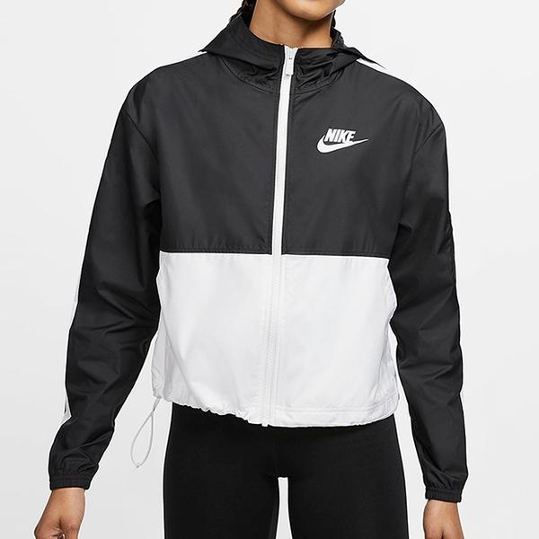 Nike Sportswear 女裝 外套 連帽 防風 休閒 訓練 梭織 黑 白【運動世界】CJ7345-010
