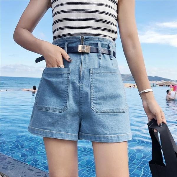 [超豐國際]夏裝女裝寬松口袋拼接做舊直筒闊腿短褲顯瘦花苞高腰1入