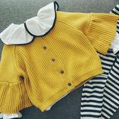 女童開襟毛衣洋氣 韓版喇叭袖純棉