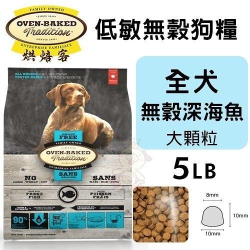 【免運】Oven Baked烘焙客 低敏無穀狗糧 全犬-無穀深海魚(大顆粒)5LB『寵喵樂旗艦店』
