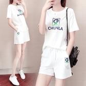 運動套裝純拉純棉運動套裝女夏季2020新款時尚洋氣短袖短褲寬鬆學生兩件套 JUST M