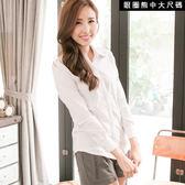 襯衫--百搭實款-素面公主線設計長袖襯衫(白.黑.灰M-4L)-I161眼圈熊中大尺碼◎