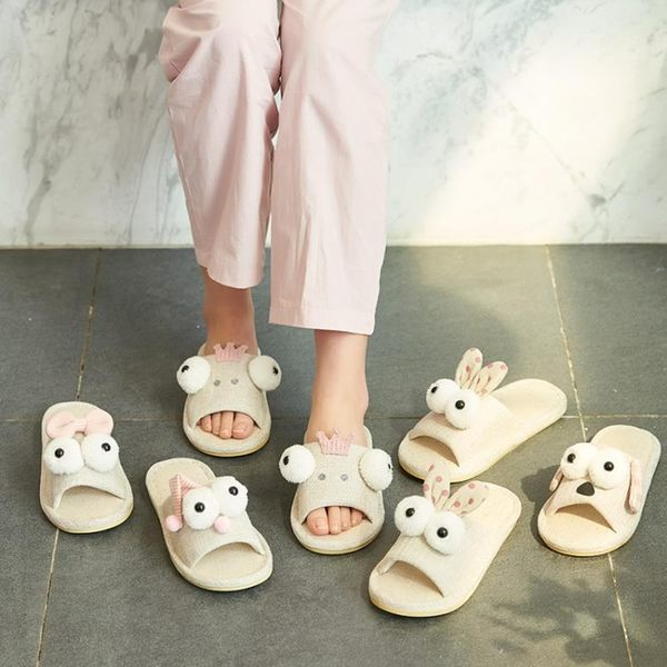 可愛卡通室內涼拖鞋女防滑兒童棉麻家居鞋男居家情侶亞麻拖鞋夏季