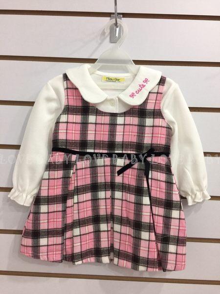 ☆╮寶貝丹童裝╭☆ 台灣製造 淑女 格子 造型 透氣 舒適 女童 小童 長袖 洋裝 新款 ☆