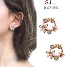 素簡手作《T056》韓國耳環925銀針珍珠花朵垂墜耳環夾式耳環磁鐵耳環