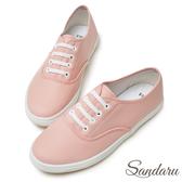 訂製鞋 皮革彈性鞋帶平底休閒鞋-山打努SANDARU【2388511】粉色下單區