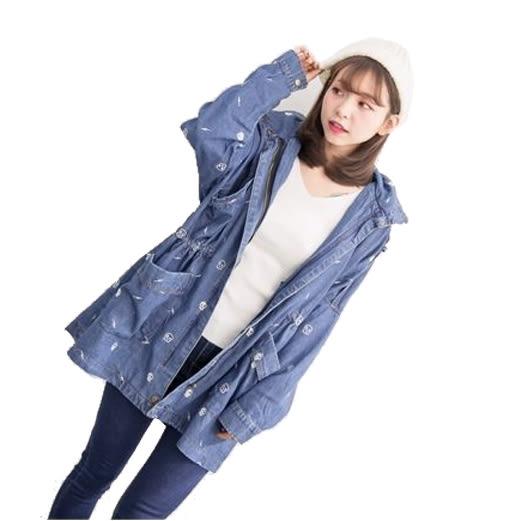 新款全面刺繡點綴可收式連帽收腰寬鬆牛仔外套  (M8FW)