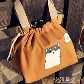 日式可愛卡通飯盒袋手提便當包小身材大容量帆布抽繩學生帶飯包『小淇嚴選』