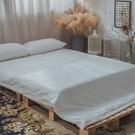 Life素色系列-天使白 Q3加大床包與雙人兩用被四件組 100%精梳棉(60支) 台灣製 棉床本舖