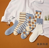 4雙裝 襪子女中筒襪潮復古街頭純棉格子條紋長襪男薄款潮流【毒家貨源】