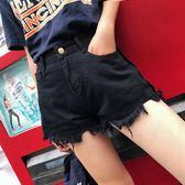 夏季韓版大碼高腰破洞牛仔短褲女寬松顯瘦毛邊闊腿熱褲潮【韓衣舍】