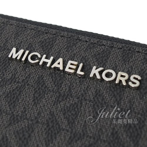 茱麗葉精品【全新現貨】MICHAEL KORS Jet Set Travel 手提式拉鍊中長夾.黑灰