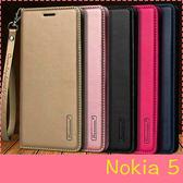 【萌萌噠】諾基亞 Nokia 5 (5.2吋)  韓曼 真皮側翻皮套 全包軟邊 矽膠軟殼 可插卡 掛繩 手機套 皮套