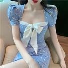 很仙的法國小眾復古性感碎花連身裙