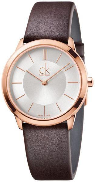 【時間道】[Calvin Klein。CK]簡約時尚層次腕錶/ 白面玫瑰金殼黑皮 (小) (K3M226G6)免運費