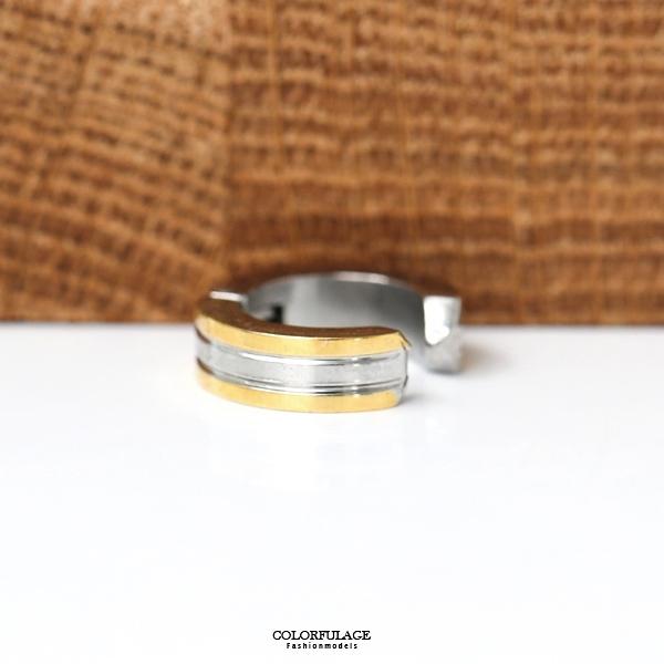 夾式耳環金邊亮面鋼製ND603