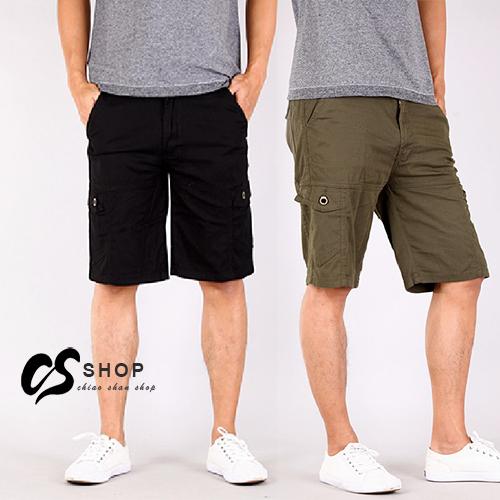 CS衣舖 夏日薄款 涼爽 高彈性 透氣 立體側袋 六口袋短褲 工作褲 兩色 2074