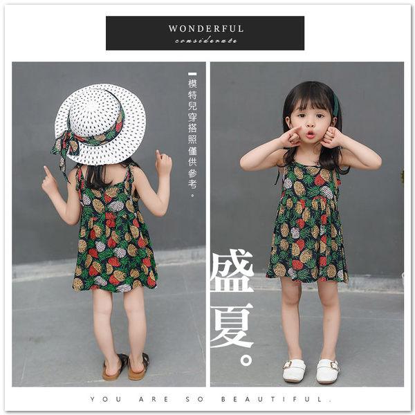 熱帶鳳梨細肩帶連身洋裝 輕薄 透氣 親膚 綁帶 民俗風 女童 無袖 洋裝 鳳梨 夏天