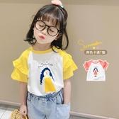 嬰兒童裝半袖純棉上衣女童短袖t恤年夏季薄款女寶寶小童夏裝T 快速出貨