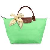 LONGCHAMP 短提把中型尼龍摺疊水餃包(草地綠-含帕巾)480101-87
