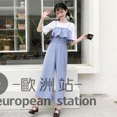 連身褲/夏裝新款韓版吊帶高腰顯瘦休閒闊腿褲女寬鬆九分褲學生「歐洲站」