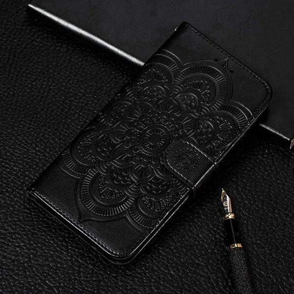 時尚曼陀羅壓花 蘋果 iPhone 12 Pro Max 皮套 錢包款 iX 手機殼 掛繩 i12 Mini 手機套