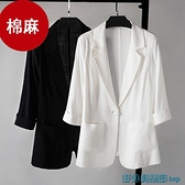 亞麻西裝外套 2021新款大碼棉麻西裝外套女 春夏季垂感亞麻薄款小個子西服上衣 快速出貨